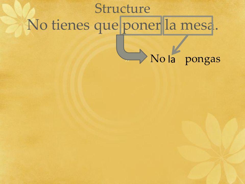 Structure No tienes que poner la mesa. » No pongas la