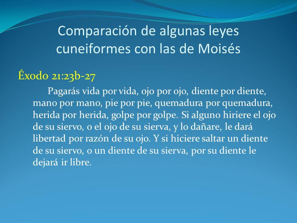 Comparación de algunas leyes cuneiformes con las de Moisés Hammurabi 196.