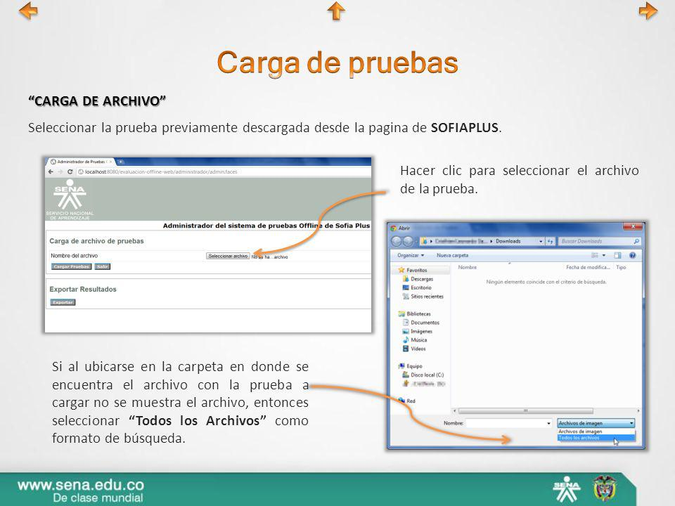 Seleccionar la prueba previamente descargada desde la pagina de SOFIAPLUS. CARGA DE ARCHIVO Hacer clic para seleccionar el archivo de la prueba. Si al