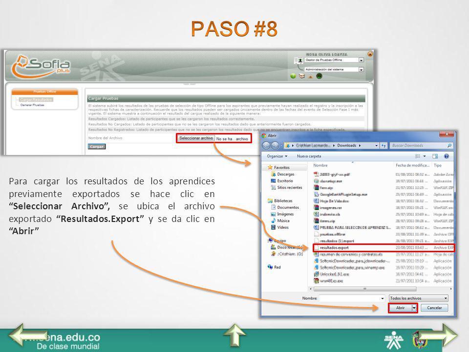 Para cargar los resultados de los aprendices previamente exportados se hace clic en Seleccionar Archivo, se ubica el archivo exportado Resultados.Expo