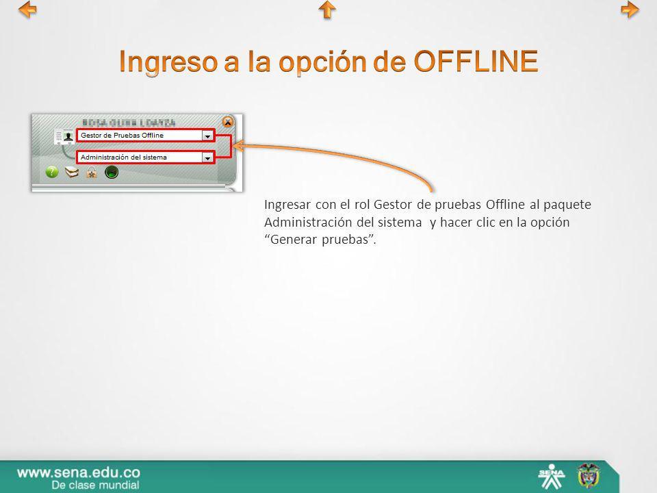 Ingresar con el rol Gestor de pruebas Offline al paquete Administración del sistema y hacer clic en la opción Generar pruebas.