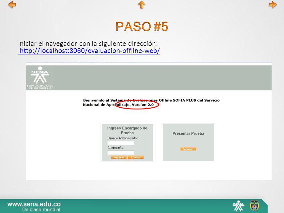 Iniciar el navegador con la siguiente dirección: http://localhost:8080/evaluacion-offline-web/ http://localhost:8080/evaluacion-offline-web/