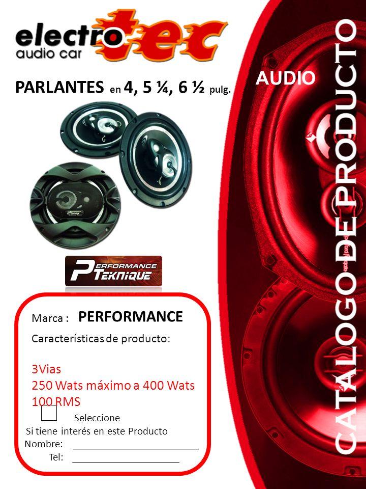 Seleccione Si tiene interés en este Producto Nombre: Tel: Características de producto: 3Vias 250 Wats máximo a 400 Wats 100 RMS Marca : PERFORMANCE PA