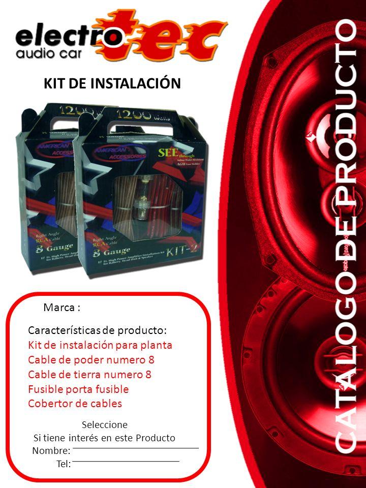 Seleccione Si tiene interés en este Producto Nombre: Tel: Características de producto: Kit de instalación para planta Cable de poder numero 8 Cable de