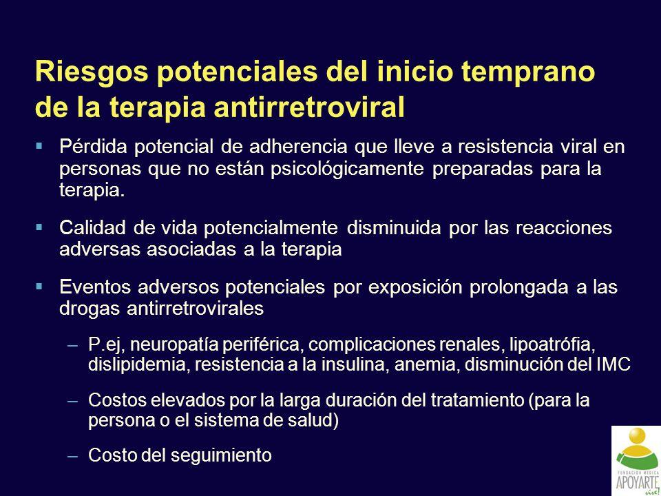 Riesgos potenciales del inicio temprano de la terapia antirretroviral Pérdida potencial de adherencia que lleve a resistencia viral en personas que no están psicológicamente preparadas para la terapia.