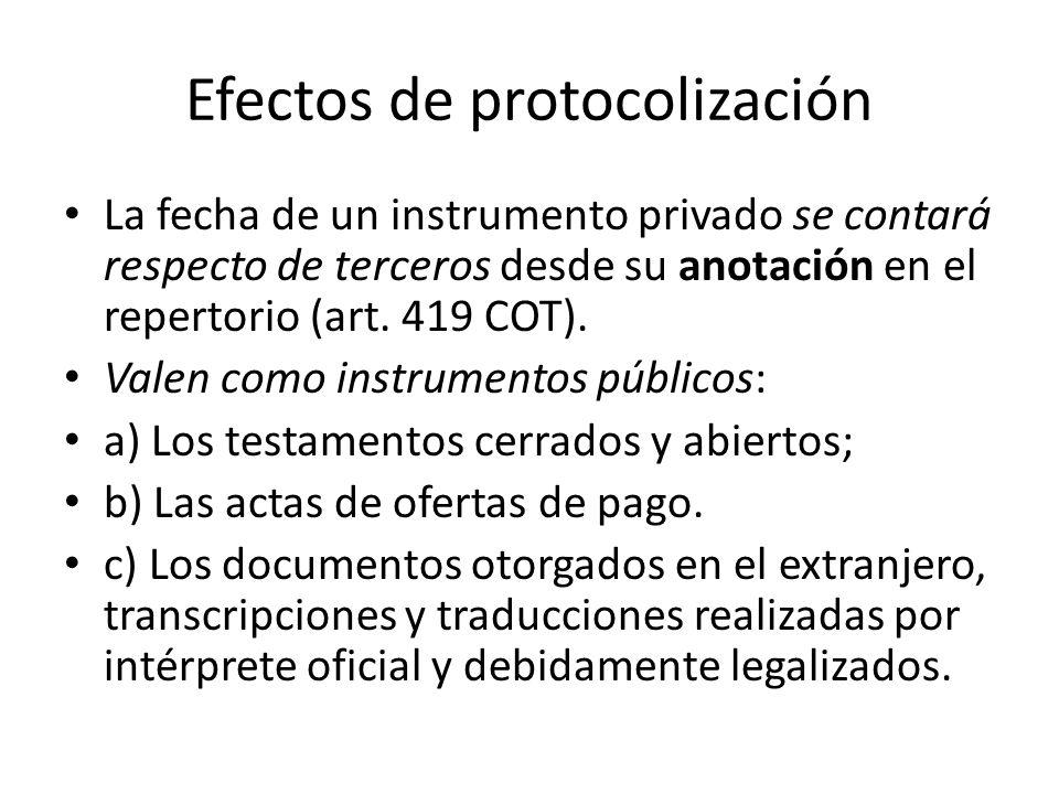 Efectos de protocolización La fecha de un instrumento privado se contará respecto de terceros desde su anotación en el repertorio (art. 419 COT). Vale