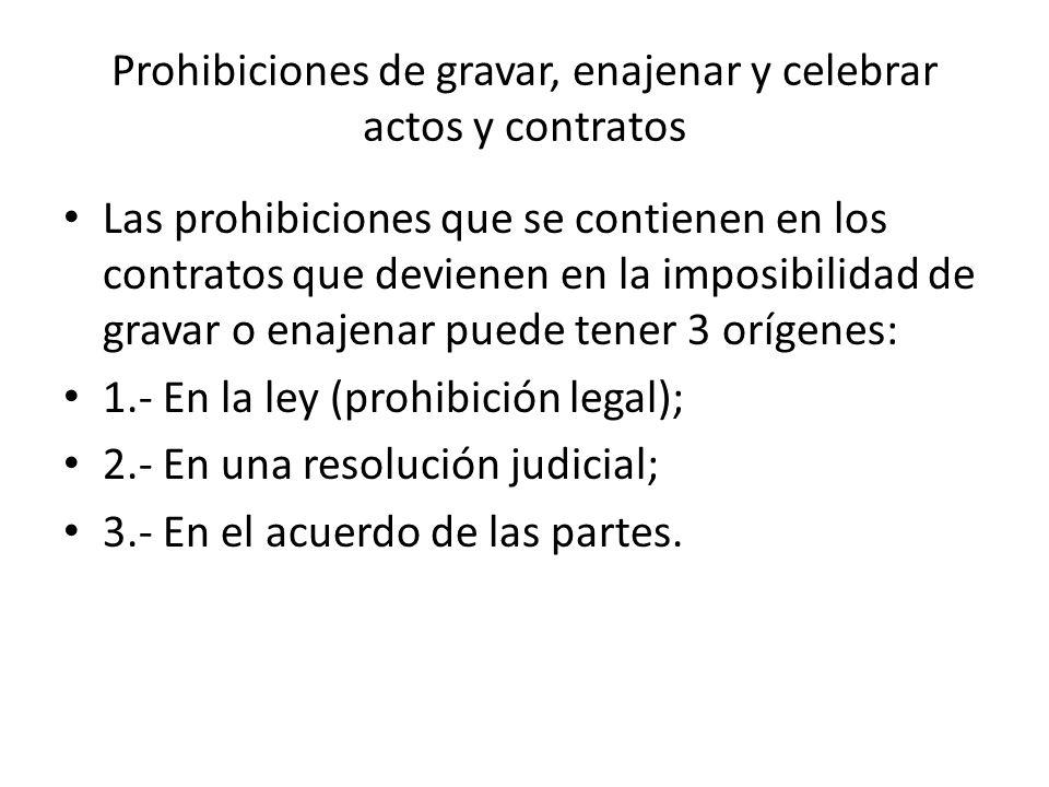 Prohibiciones de gravar, enajenar y celebrar actos y contratos Las prohibiciones que se contienen en los contratos que devienen en la imposibilidad de
