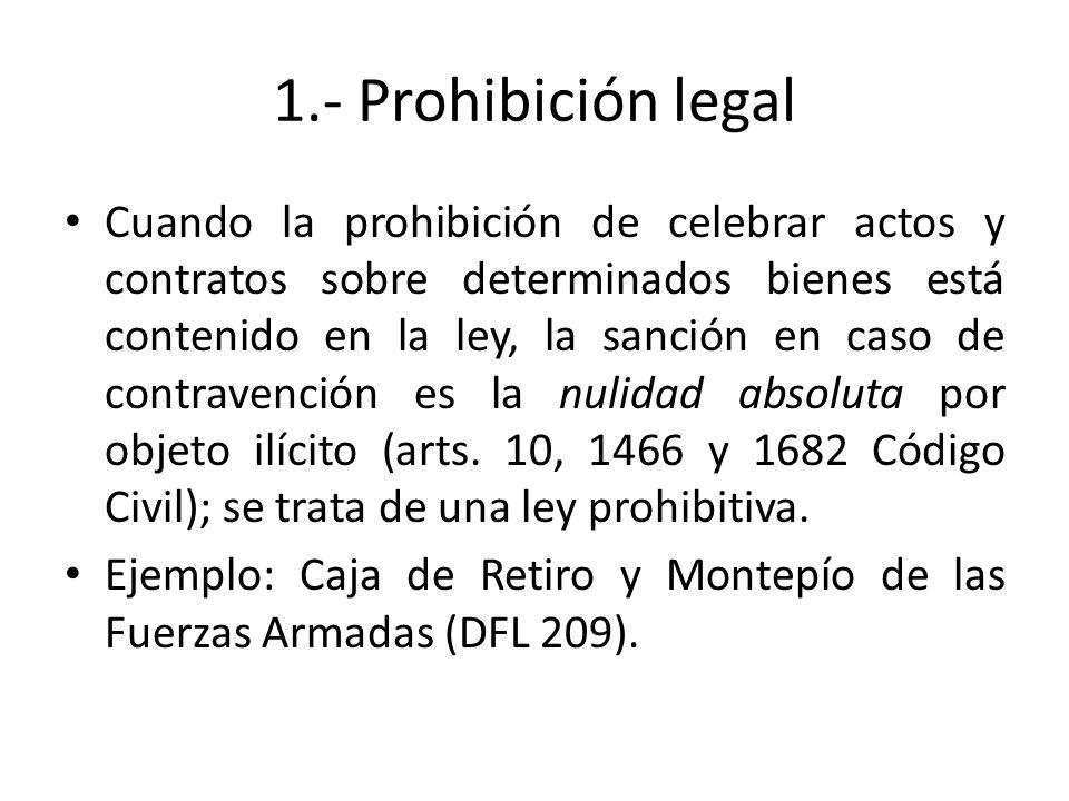 1.- Prohibición legal Cuando la prohibición de celebrar actos y contratos sobre determinados bienes está contenido en la ley, la sanción en caso de co