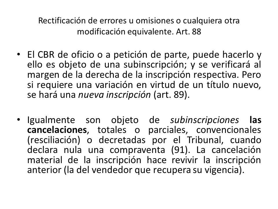 Rectificación de errores u omisiones o cualquiera otra modificación equivalente. Art. 88 El CBR de oficio o a petición de parte, puede hacerlo y ello