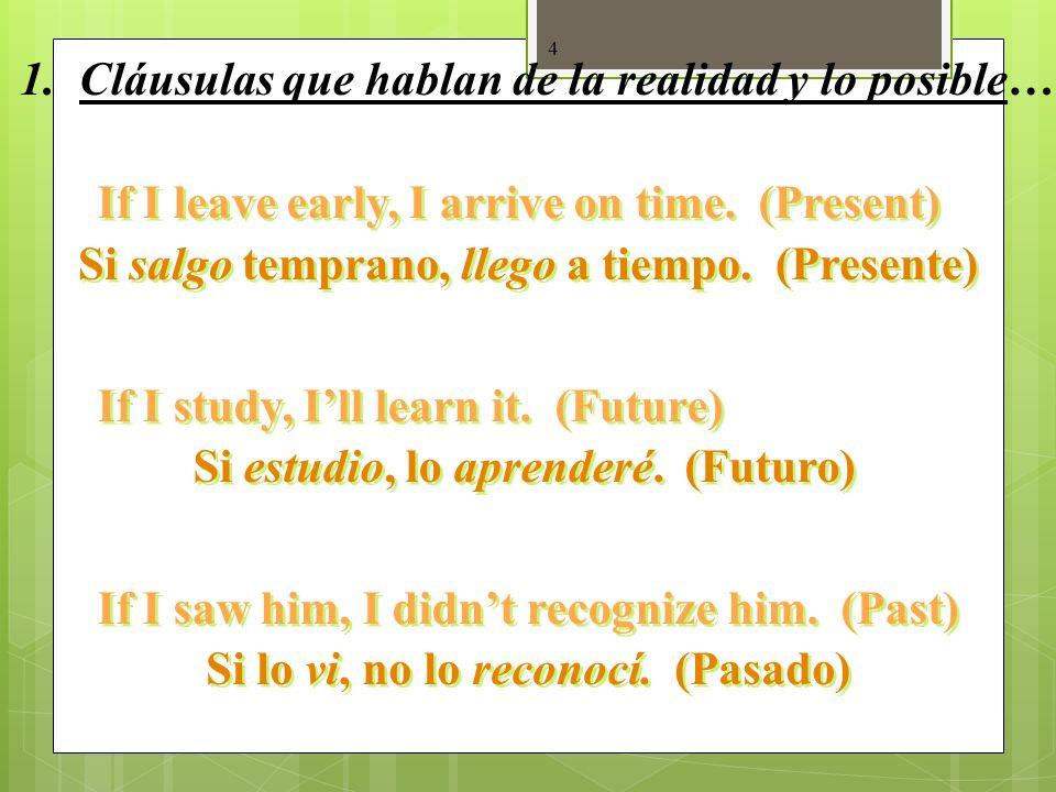 3 1. La realidad y lo posible… Si + + indicativo + + presente (pretérito) presente (pretérito) futuro (presente) (pretérito) futuro (presente) (pretér