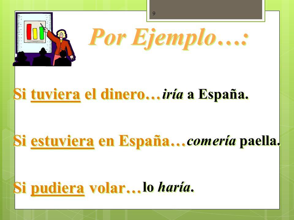 9 Si tuviera el dinero… Si estuviera en España… Si pudiera volar… Si tuviera el dinero… Si estuviera en España… Si pudiera volar… Por Ejemplo…: iría a España.