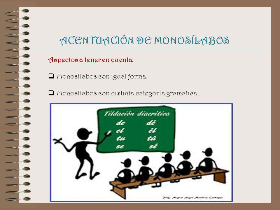 ACENTUACIÓN DE MONOSÍLABOS Aspectos a tener en cuenta: Monosílabos con igual forma.