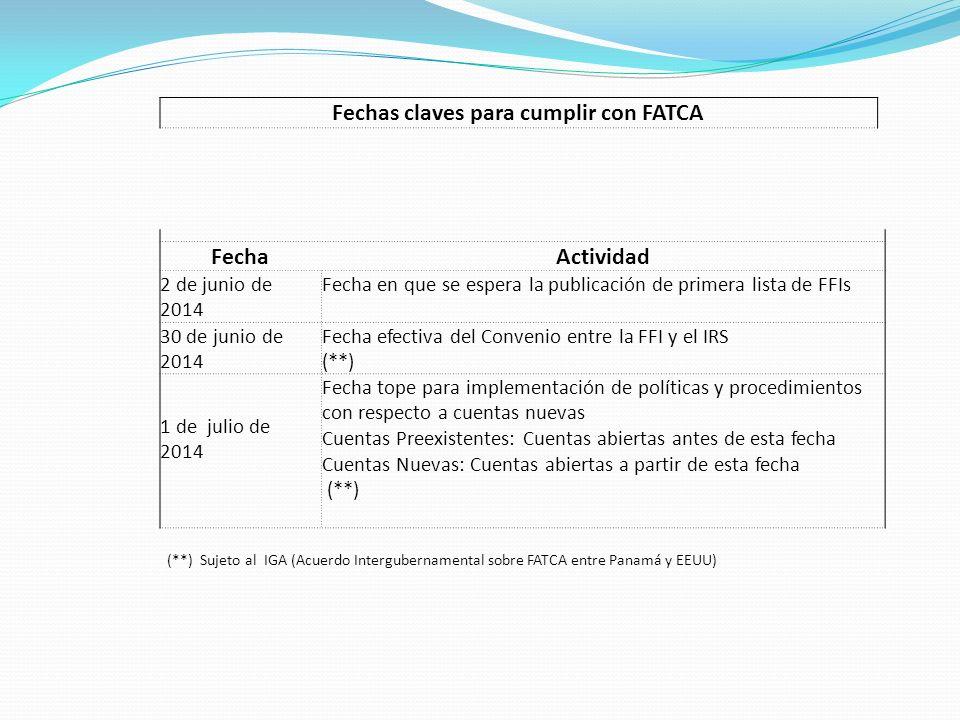 Fechas claves para cumplir con FATCA FechaActividad 2 de junio de 2014 Fecha en que se espera la publicación de primera lista de FFIs 30 de junio de 2