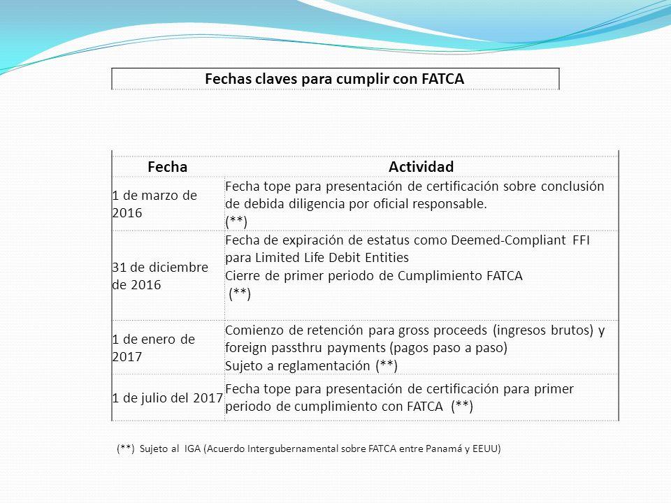 Fechas claves para cumplir con FATCA FechaActividad 1 de marzo de 2016 Fecha tope para presentación de certificación sobre conclusión de debida dilige