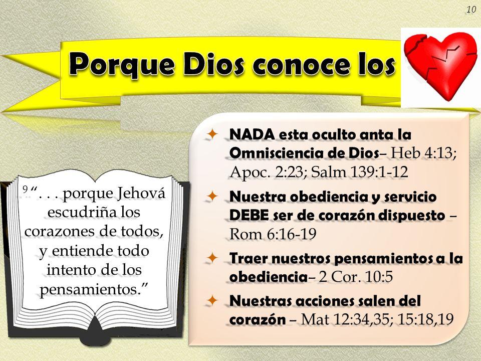 NADA esta oculto anta la Omnisciencia de Dios – Heb 4:13; Apoc. 2:23; Salm 139:1-12 NADA esta oculto anta la Omnisciencia de Dios – Heb 4:13; Apoc. 2:
