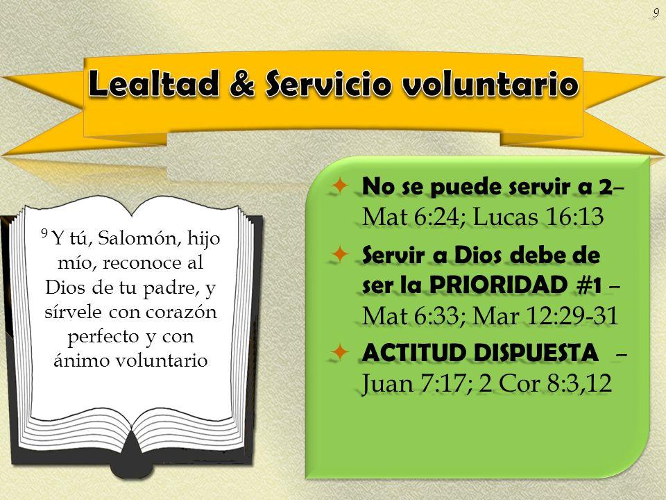 No se puede servir a 2 – Mat 6:24; Lucas 16:13 No se puede servir a 2 – Mat 6:24; Lucas 16:13 Servir a Dios debe de ser la PRIORIDAD #1 – Mat 6:33; Ma