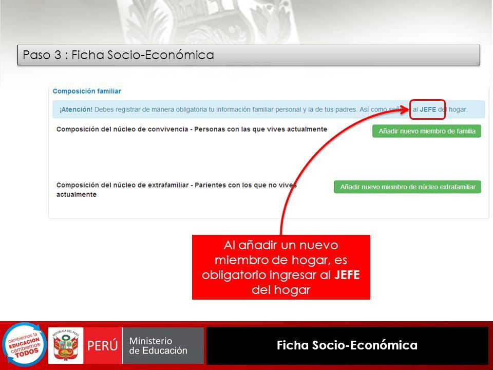 Ficha Socio-Económica Paso 3 : Ficha Socio-Económica Al añadir un nuevo miembro de hogar, es obligatorio ingresar al JEFE del hogar