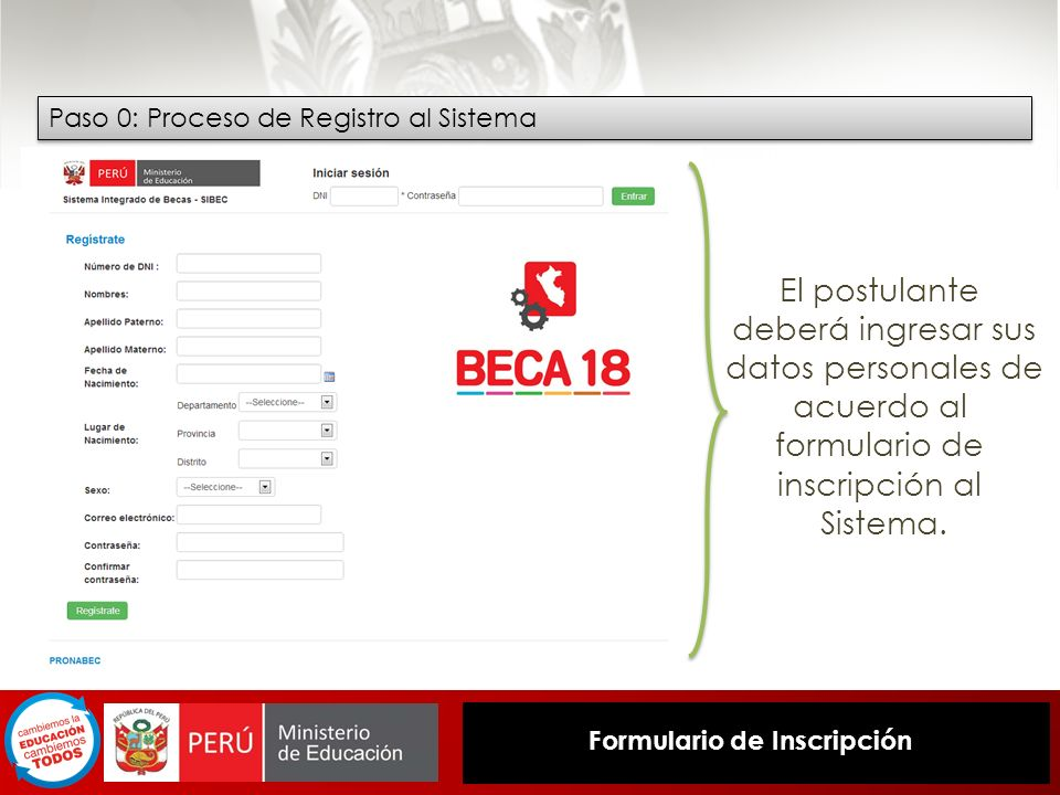 Paso 0: Proceso de Registro al Sistema El postulante deberá ingresar sus datos personales de acuerdo al formulario de inscripción al Sistema. Formular