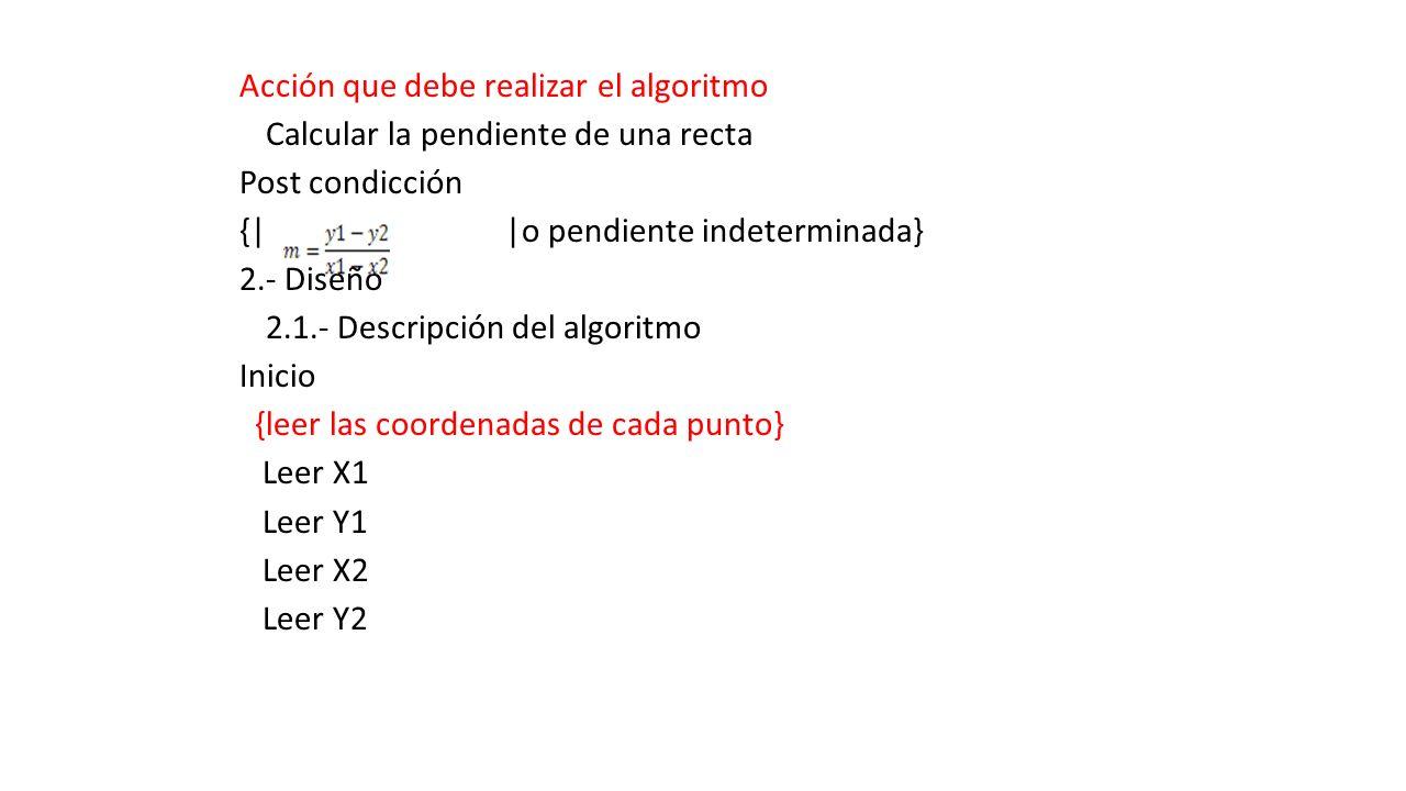 Acción que debe realizar el algoritmo Calcular la pendiente de una recta Post condicción {| |o pendiente indeterminada} 2.- Diseño 2.1.- Descripción d