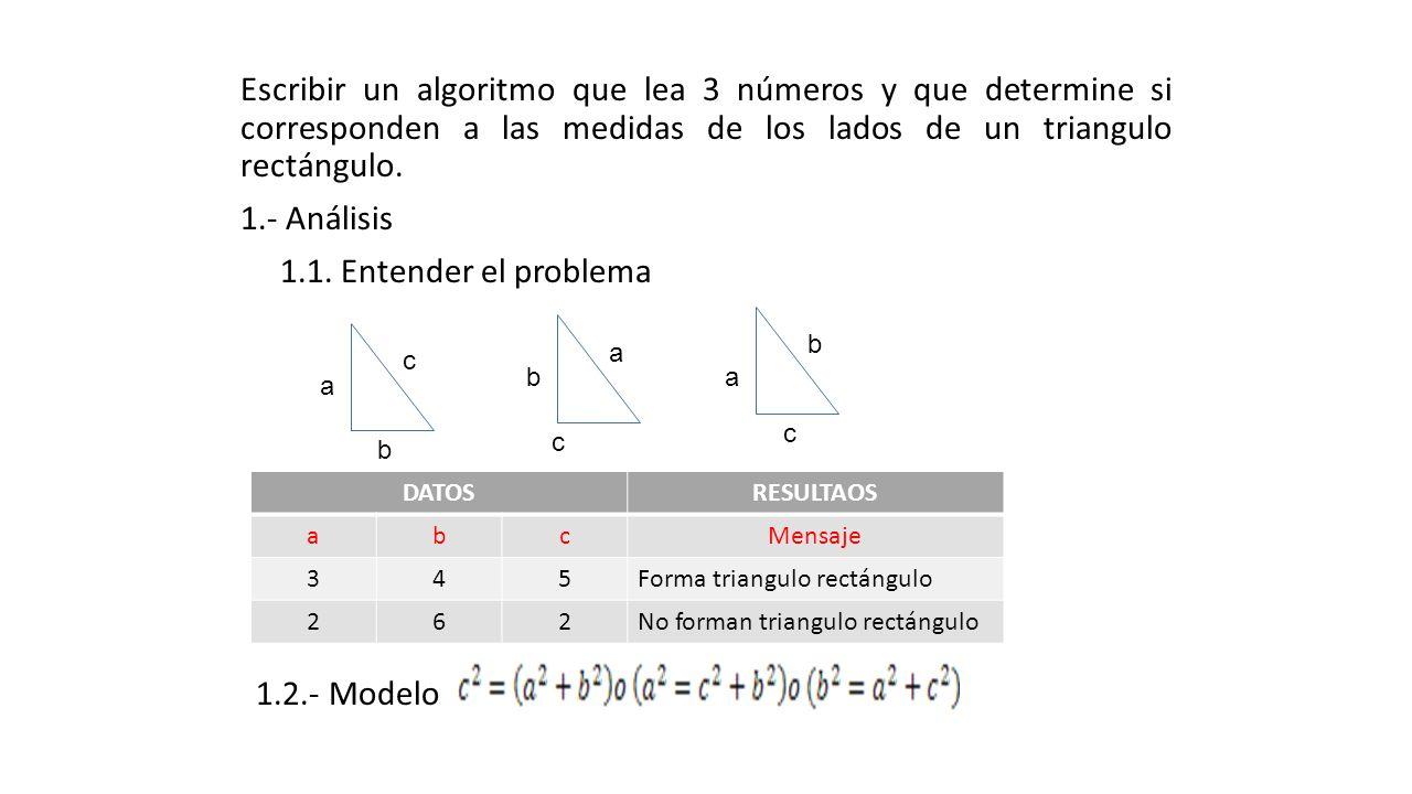 Escribir un algoritmo que lea 3 números y que determine si corresponden a las medidas de los lados de un triangulo rectángulo. 1.- Análisis 1.1. Enten