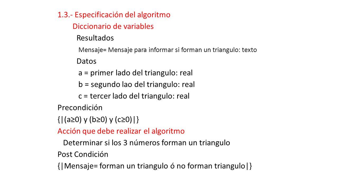 1.3.- Especificación del algoritmo Diccionario de variables Resultados Mensaje= Mensaje para informar si forman un triangulo: texto Datos a = primer l