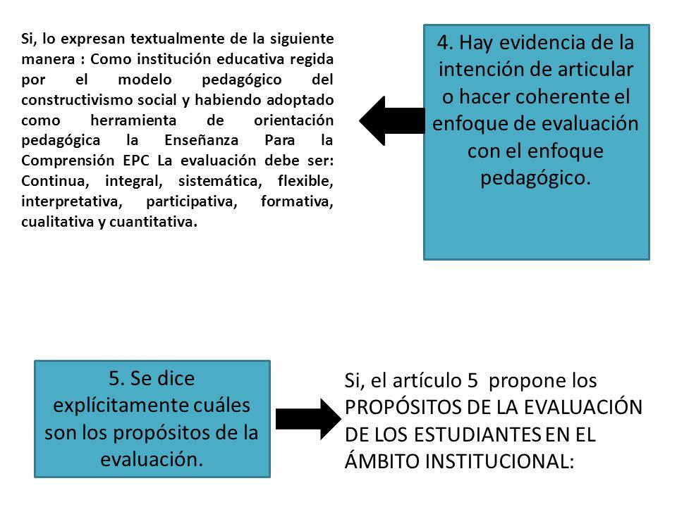 4. Hay evidencia de la intención de articular o hacer coherente el enfoque de evaluación con el enfoque pedagógico. 5. Se dice explícitamente cuáles s