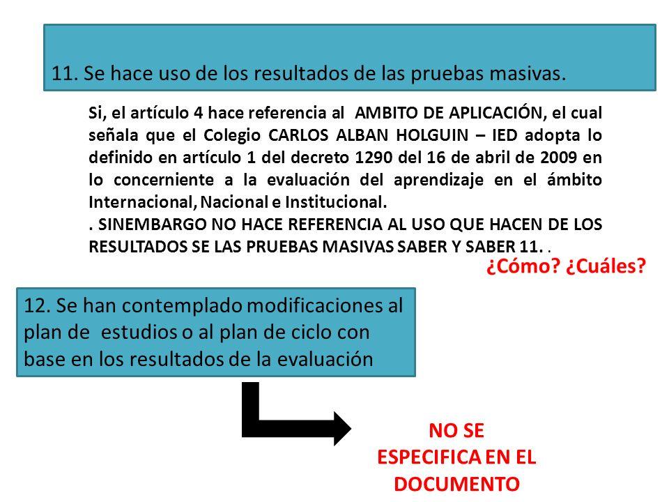 11. Se hace uso de los resultados de las pruebas masivas. Si, el artículo 4 hace referencia al AMBITO DE APLICACIÓN, el cual señala que el Colegio CAR