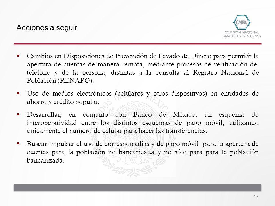 Acciones a seguir Cambios en Disposiciones de Prevención de Lavado de Dinero para permitir la apertura de cuentas de manera remota, mediante procesos