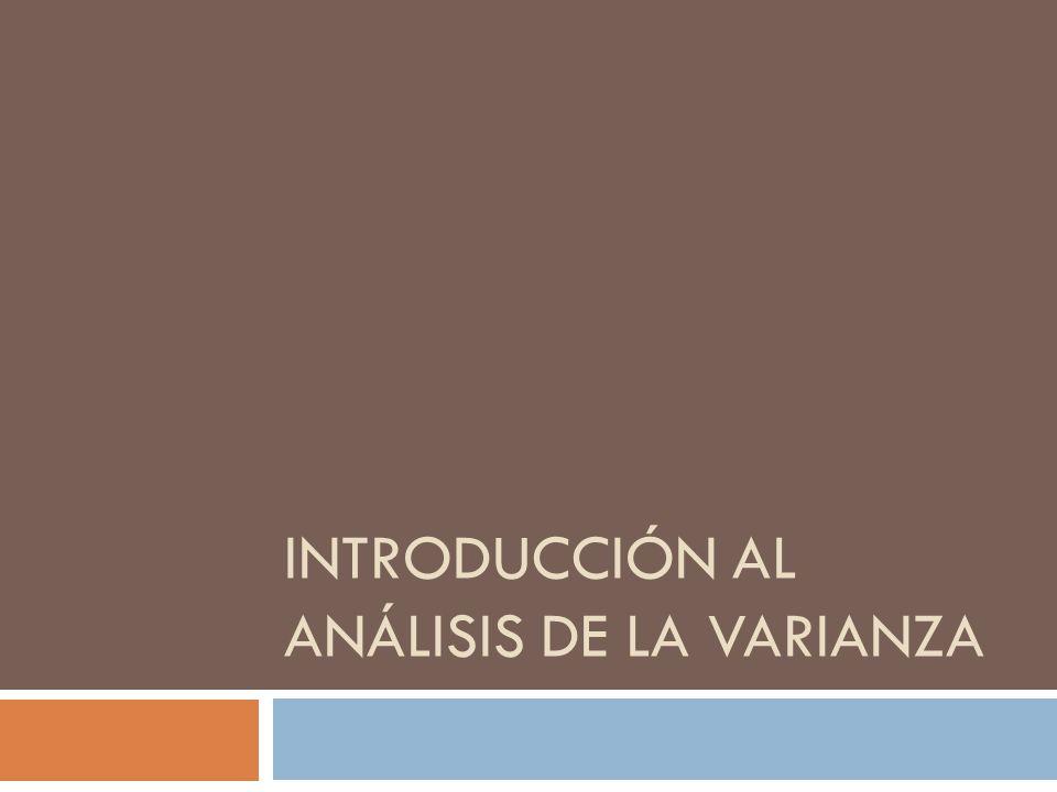 INTRODUCCIÓN AL ANÁLISIS DE LA VARIANZA