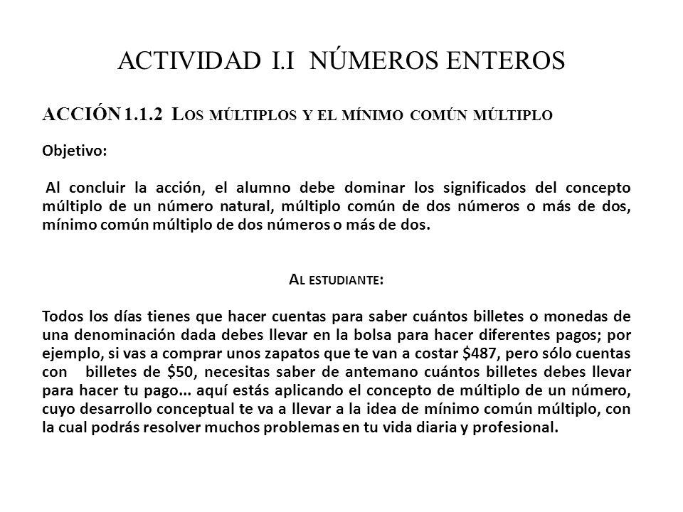 ACTIVIDAD I.I NÚMEROS ENTEROS ACCIÓN 1.1.2 L OS MÚLTIPLOS Y EL MÍNIMO COMÚN MÚLTIPLO Objetivo: Al concluir la acción, el alumno debe dominar los signi
