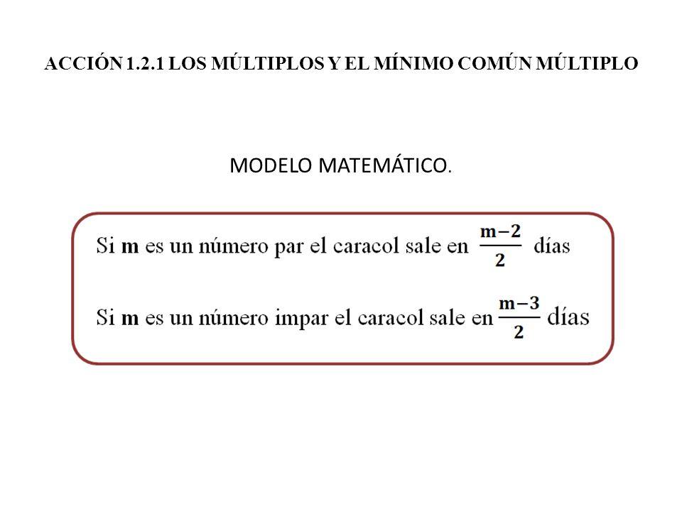 ACCIÓN 1.2.1 LOS MÚLTIPLOS Y EL MÍNIMO COMÚN MÚLTIPLO MODELO MATEMÁTICO.