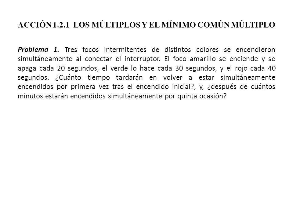 ACCIÓN 1.2.1 LOS MÚLTIPLOS Y EL MÍNIMO COMÚN MÚLTIPLO Problema 1. Tres focos intermitentes de distintos colores se encendieron simultáneamente al cone