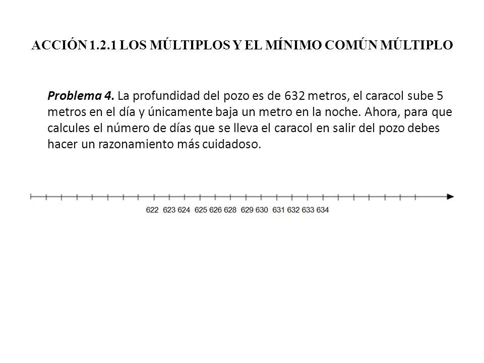 ACCIÓN 1.2.1 LOS MÚLTIPLOS Y EL MÍNIMO COMÚN MÚLTIPLO Problema 4. La profundidad del pozo es de 632 metros, el caracol sube 5 metros en el día y única