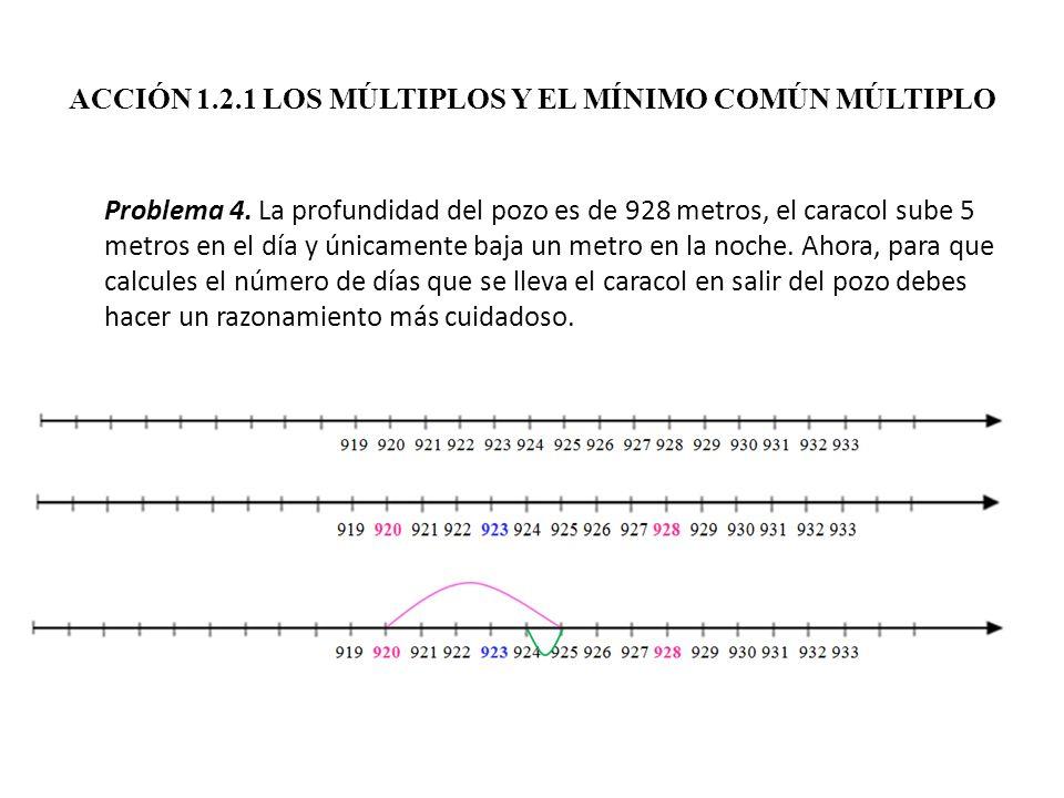 ACCIÓN 1.2.1 LOS MÚLTIPLOS Y EL MÍNIMO COMÚN MÚLTIPLO Problema 4. La profundidad del pozo es de 928 metros, el caracol sube 5 metros en el día y única