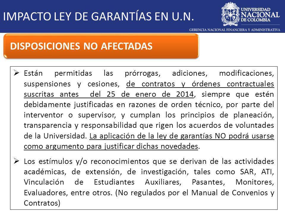 IMPACTO LEY DE GARANTÍAS EN U.N.