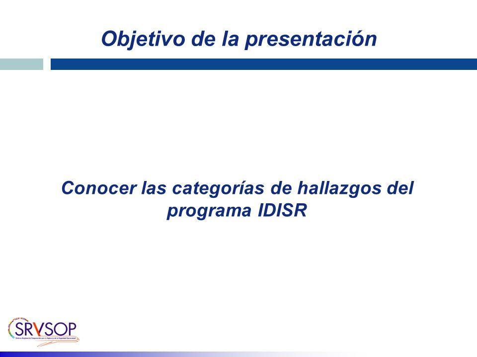 Objetivo de la presentación Conocer las categorías de hallazgos del programa IDISR