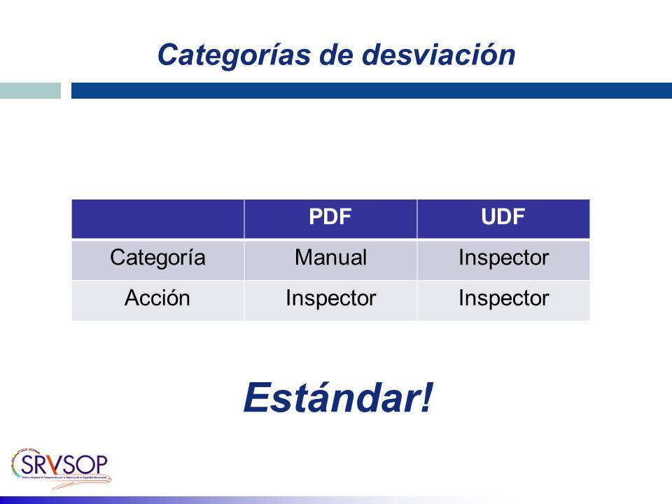 Categorías de desviación PDFUDF CategoríaManualInspector AcciónInspector Estándar!