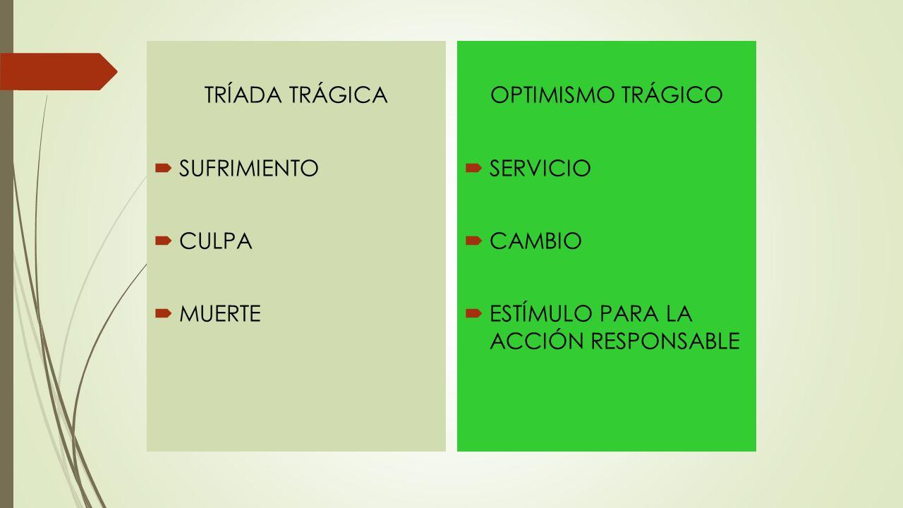 TRÍADA TRÁGICA SUFRIMIENTO CULPA MUERTE OPTIMISMO TRÁGICO SERVICIO CAMBIO ESTÍMULO PARA LA ACCIÓN RESPONSABLE