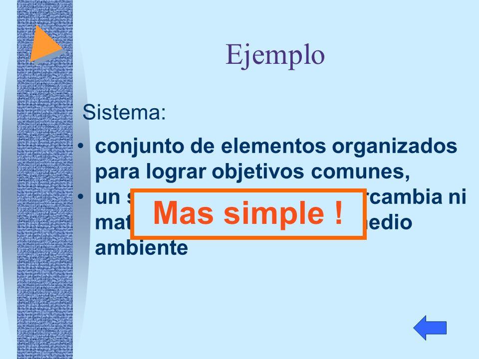 Ejemplo conjunto de elementos organizados para lograr objetivos comunes, un sistema aislado no intercambia ni materia ni energía con el medio ambiente