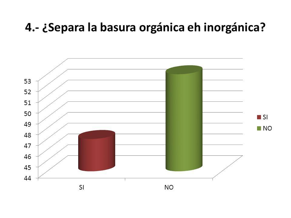4.- ¿Separa la basura orgánica eh inorgánica