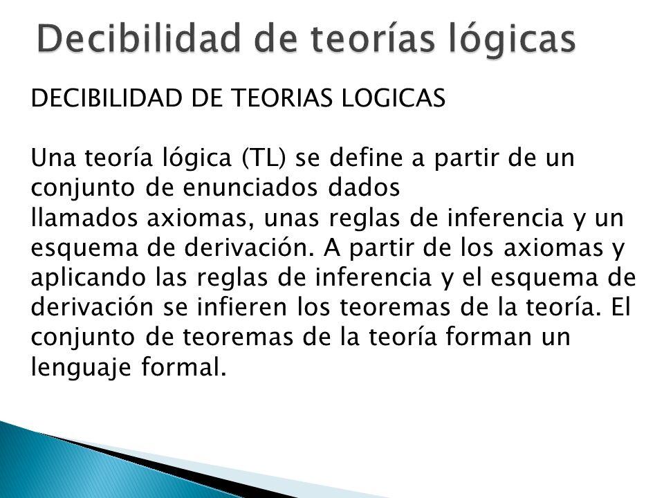 DECIBILIDAD DE TEORIAS LOGICAS Una teoría lógica (TL) se define a partir de un conjunto de enunciados dados llamados axiomas, unas reglas de inferenci
