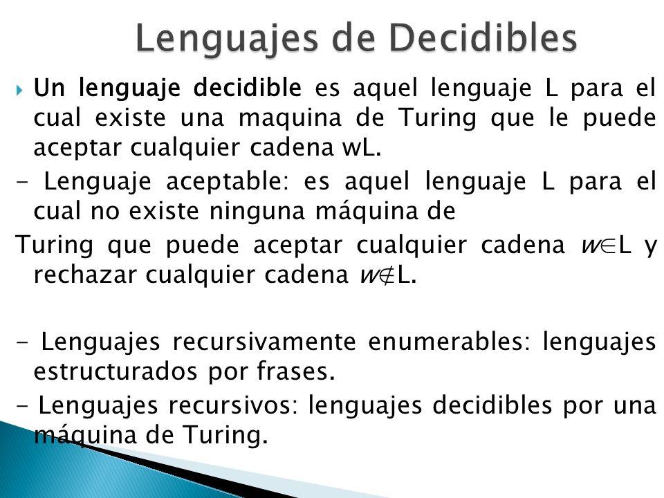 Un lenguaje decidible es aquel lenguaje L para el cual existe una maquina de Turing que le puede aceptar cualquier cadena wL. - Lenguaje aceptable: es