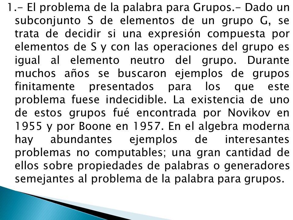 1.- El problema de la palabra para Grupos.- Dado un subconjunto S de elementos de un grupo G, se trata de decidir si una expresión compuesta por eleme