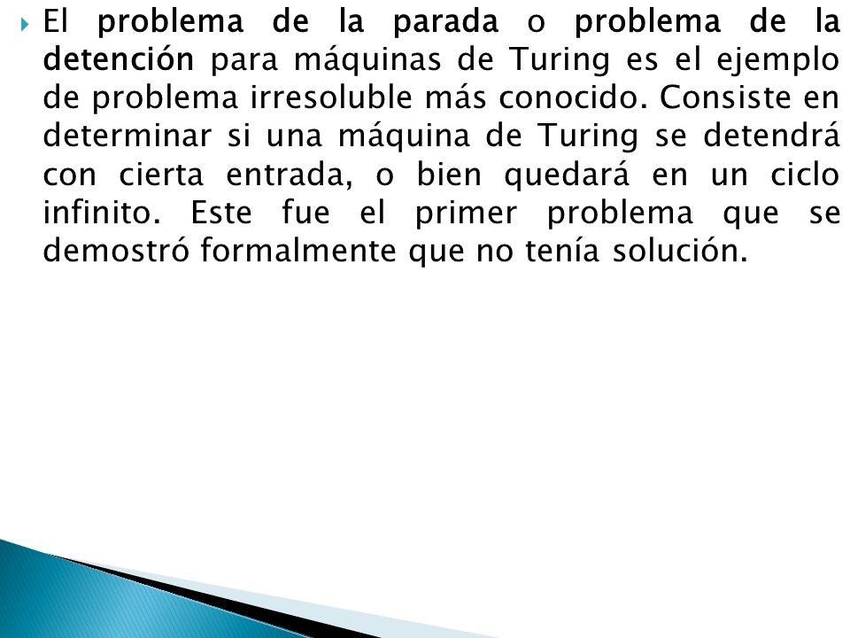El problema de la parada o problema de la detención para máquinas de Turing es el ejemplo de problema irresoluble más conocido. Consiste en determinar