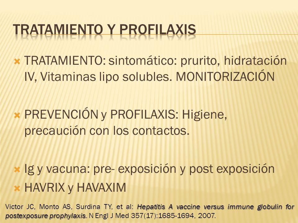 TRATAMIENTO: sintomático: prurito, hidratación IV, Vitaminas lipo solubles. MONITORIZACIÓN PREVENCIÓN y PROFILAXIS: Higiene, precaución con los contac