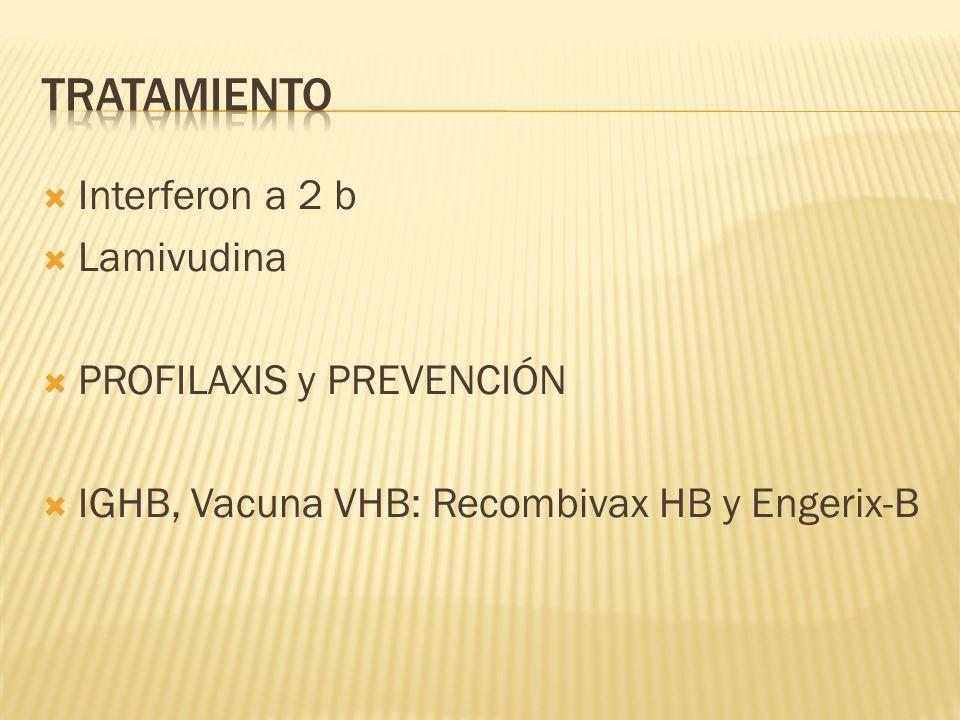 Interferon a 2 b Lamivudina PROFILAXIS y PREVENCIÓN IGHB, Vacuna VHB: Recombivax HB y Engerix-B