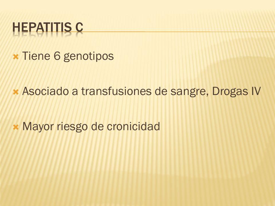 Tiene 6 genotipos Asociado a transfusiones de sangre, Drogas IV Mayor riesgo de cronicidad