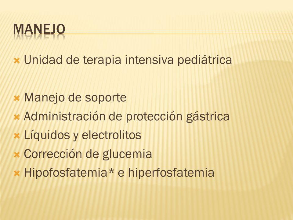 Unidad de terapia intensiva pediátrica Manejo de soporte Administración de protección gástrica Líquidos y electrolitos Corrección de glucemia Hipofosf