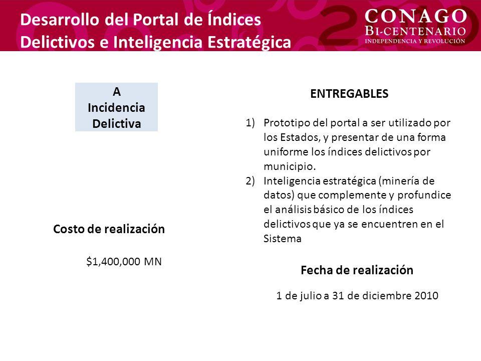 Desarrollo del Portal de Índices Delictivos e Inteligencia Estratégica ENTREGABLES 1)Prototipo del portal a ser utilizado por los Estados, y presentar