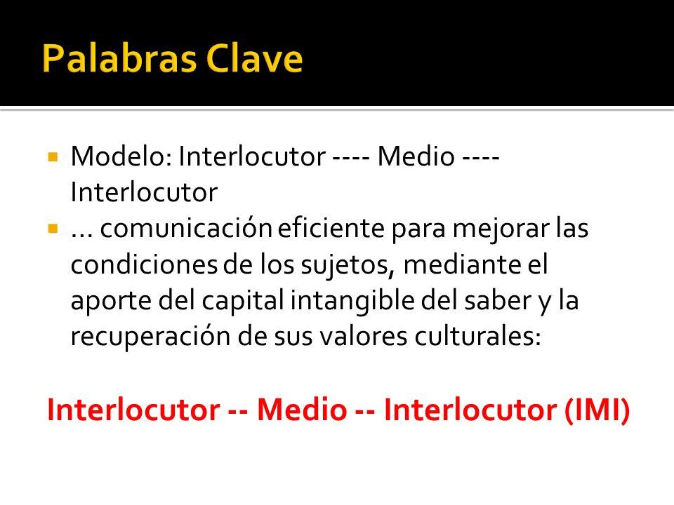 Modelo: Interlocutor ---- Medio ---- Interlocutor … comunicación eficiente para mejorar las condiciones de los sujetos, mediante el aporte del capital